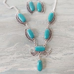 Turquoise stone stamped 925 necklace set